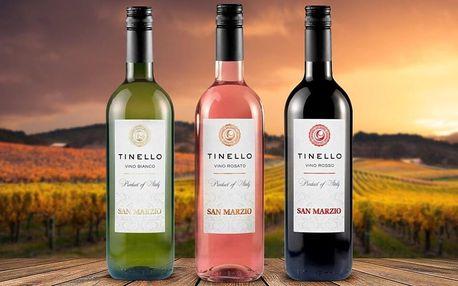Suchá italská vína Tinello: bílé, červené i růžové