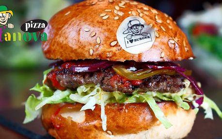 2 burgery od Peťana, hranolky, pití a rozvoz
