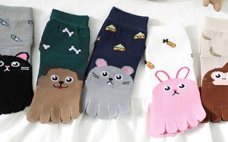 Dětské prstové ponožky s veselými zvířátky