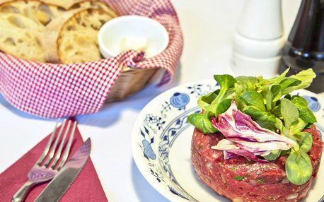Až 500 g tatarského bifteku s topinkami