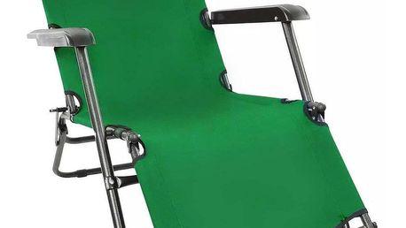 ISwing Polohovací zahradní a plážové lehátko Comfort, zelená, 153 x 60 x 80 cm