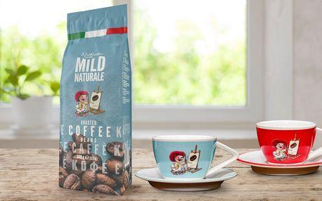 1 kg italské zrnkové kávy a šálek na espresso