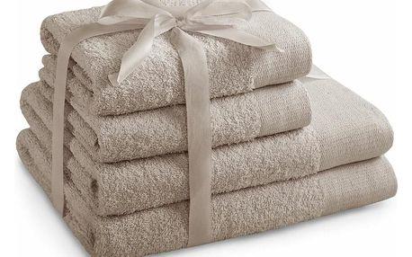 AmeliaHome Sada ručníků a osušek Amari béžová, 2 ks 50 x 100 cm, 2 ks 70 x 140 cm