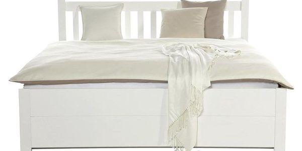 Dřevěná Manželská Postel Lyon, Bílá, 140x200 Cm3