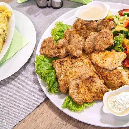 Steak menu s 600 g masa z grilu, brambory a omáčky
