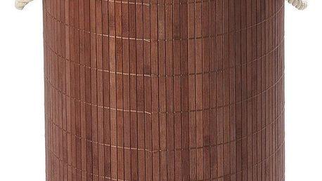 Kulatý bambusový koš na špinavé prádlo