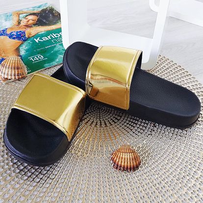 Dívčí pantofle zlaté 2048-X.GO Velikost: 31 (20 cm)