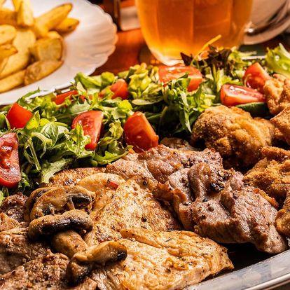 Mísa grilovaného i smaženého masa až pro 4 osoby