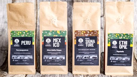 Zrnkové kávy z pražírny Ignác: jednotlivě i sady