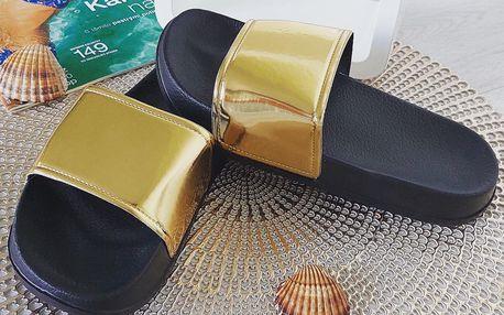 Dámské pantofle zlaté 2048GO Velikost: 37 (24 cm)