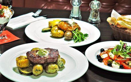 Menu pro 1 i 2 os.: caprese, steak či losos a dezert