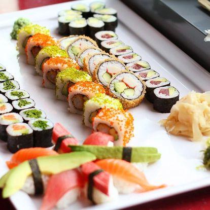 46 nebo 62 ks sushi s lososem, avokádem i tuňákem