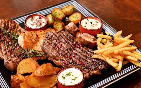 Steakové menu pro dva: 4 druhy masa, dipy, příloha