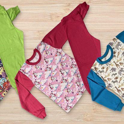 Bavlněná dětská pyžama Gudo: jednorožec i příšerky
