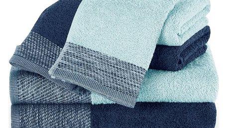 AmeliaHome Sada ručníků a osušek Aria světle modrá/tmavě modrá
