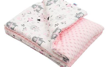 New Baby Dětská deka z Minky Medvídci růžová, 80 x 102 cm
