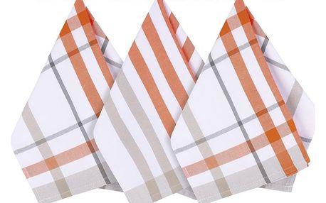 Bellatex Kuchyňská utěrka káro oranžová, 50 x 70 cm, sada 3 ks