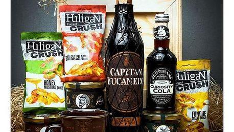 Dárková bedna s páčidlem pro muže s rumem Capitan Bucanero Elixir Dominicano 7y