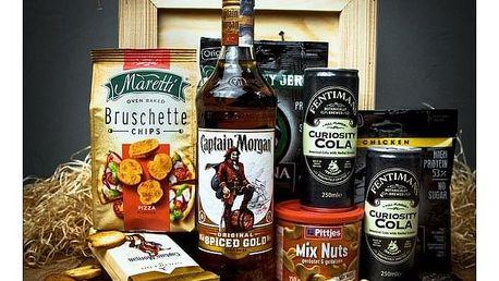 Dárková bedna s páčidlem pro muže s rumem Captain Morgan Original Spiced Gold