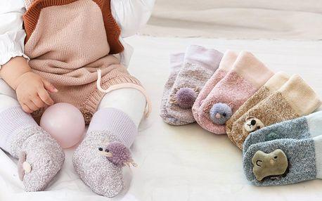 Dětské hřejivé ponožky s protiskluzem a zvířátky
