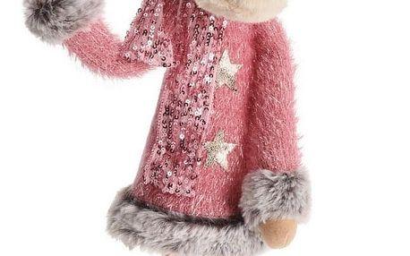 Vánoční textilní dekorace Pink Reindeer Girl, 60 cm