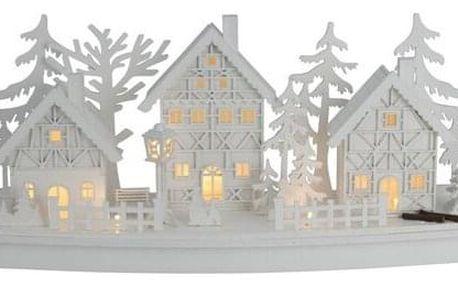 Dřevěná LED dekorace Vánoční vesnička, 45 x 14 x 20 cm