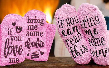 Hřejivé bavlněné ponožky s vtipným nápisem