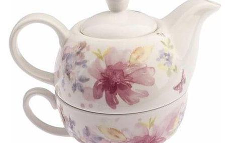 Porcelánová konvička se šálkem Flower, 400 ml