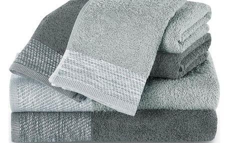 AmeliaHome Sada ručníků a osušek Aria světle šedá/tmavě šedá