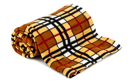 Jahu Fleecová deka Brown Cube, 150 x 200 cm