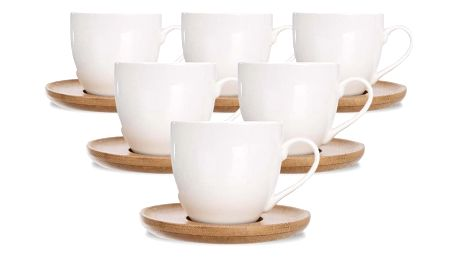 Orion Dárková sada porcelánových šálků s podšálky Bambu, 6 ks