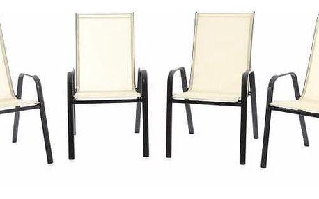 Garthen 40732 Zahradní sada 4 x stohovatelná židle balkonová - krémová