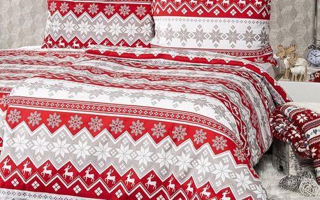 4Home Vánoční bavlněné povlečení Red Nordic, 140 x 220 cm, 70 x 90 cm