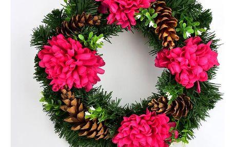 Dušičkový věnec s chryzantémami 30 cm, červená