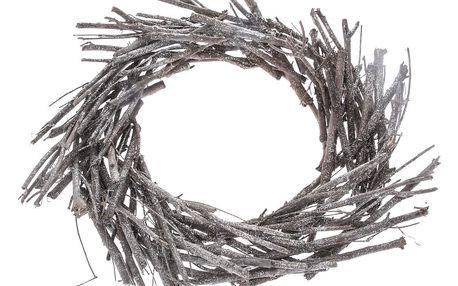 Dekorační věnec z proutí, pr. 40 cm, šedá