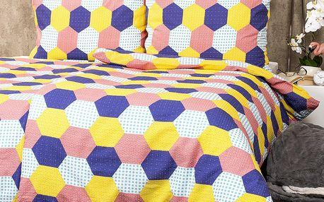 4Home Krepové povlečení Patchwork pastel, 160 x 200 cm, 70 x 80 cm