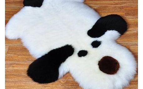 Domarex Dětský kožešinový kobereček Pes černobílá, 50 x 80 cm