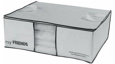 """Compactor Úložný box na 2 peřiny Compactor """"My Friends """" 58,5 x 68,5 x 25,5 cm, bílý polypropylén"""