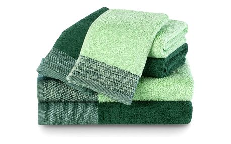 AmeliaHome Sada ručníků a osušek Aria tmavě zelená/pistáciová
