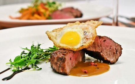 5chodové degustační menu se 2 druhy steaků pro dva