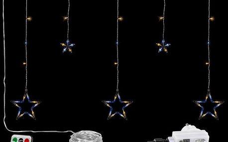 VOLTRONIC® 67312 Vánoční závěs - 5 hvězd, 61 LED, teple/studeně bílý +ovladač