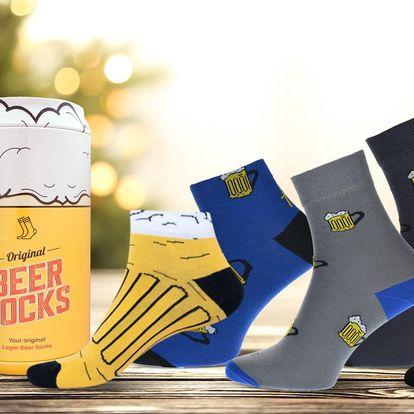 Ponožky s motivem piva v dárkové plechovce