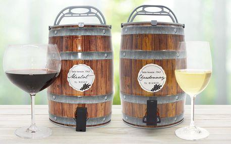 Znovuplnitelné 5l soudky: Chardonnay či Merlotem