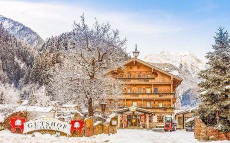 Rakouské Alpy u ski areálů v Hotelu Gutshof Zillertal **** s neomezeným wellness, bazénem a snídaněmi