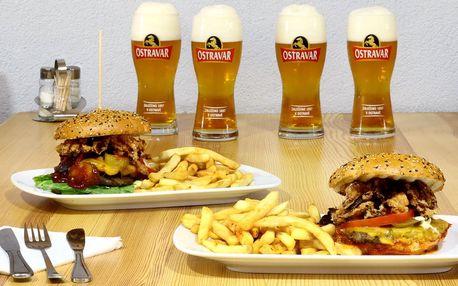 Dva burgery s hranolky a třeba i 4 piva na zapití