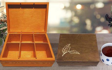 Dřevěný box na čaj, šperky i jiné drobnosti