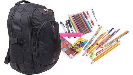 Batoh černý s náplní školních potřeb typ A