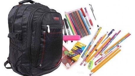 Batoh černý s náplní školních potřeb typ B