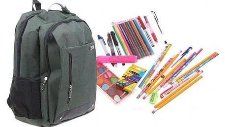 Batoh Advanced s náplní školních potřeb zelený