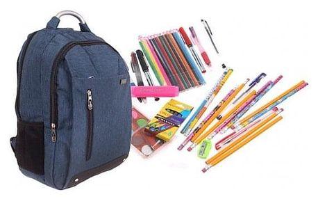 Batoh Advanced s náplní školních potřeb modrý